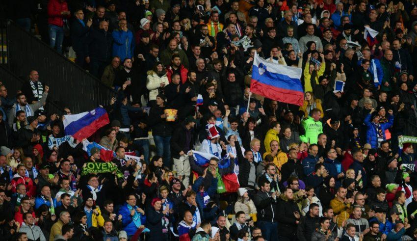 Ljudski vrt na tekmi med Slovenijo in Rusijo